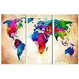 صورة فنية جدارية حديثة بتصميم تجريدي لخريطة العالم بدون إطار يمكنك طلاؤها بنفسك من خلال الأرقام للأعمال الفنية الجدارية المنز