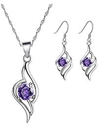 Hecho con SWAROVSKI ELEMENTS Conjunto de Joyas Collar Colgante Pendientes ángel Oro Blanco Enchapado Plata de ley Regalos para Mujer Púrpura
