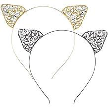 2 pcs orejas de gato Diademas Mujer Niñas Cristal Rhinestone Accesorios para el pelo para mujer