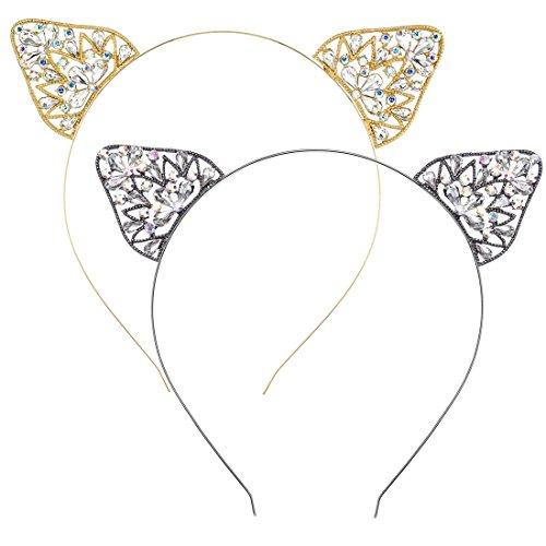 2 PCs Katze Ohren Stirnbänder Lady Girls Kristall Strass Frauen Haar Accessoires für Kostüm Party