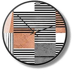 LOVEZMY Horloges murales rayées, Horloge Nordique Moderne de Salon de Maison de 12 Pouces balayant silencieusement Le Mouvement de Balayage et Le Cadre en métal pour Le,A,14inches