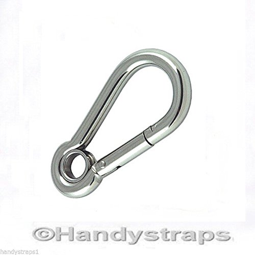 5mm x 50mm Eye Carabiner Carabina Karabiner Snap Hook Stainless Steel Marine Test