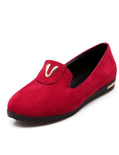 ZQ gyht Scarpe Donna - Mocassini - Tempo libero / Casual - Punta arrotondata - Piatto - Finta pelle - Nero / Rosso / Beige , red-us8 / eu39 / uk6 / cn39 , red-us8 / eu39 / uk6 / cn39 black-us5 / eu35 / uk3 / cn34