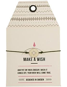 MINT Compass Silk Armband silber Freundschaftsarmband Make a Wish