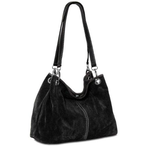 CASPAR TL621 klassische Damen Wildleder Handtasche, Farbe:schwarz - Damen-fossil Handtaschen