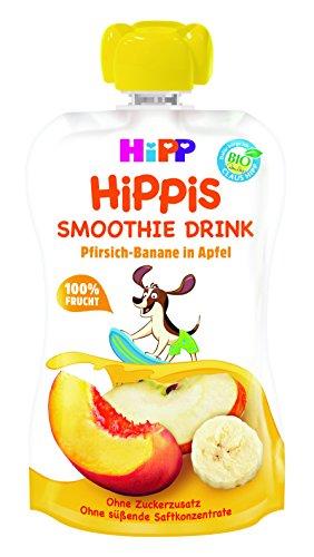 HiPP Smoothie Drink Pfirsich-Banane in Apfel, 6er Pack (6 x 120 ml) -