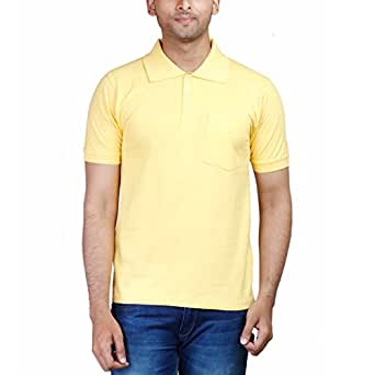 Fleximaa Men's Cotton Polo Collar T-Shirt With Pocket Yellow Color (cfpyell-s)