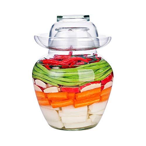 YWZNB Sealed Dosen, Haushalt Transparent Kimchi Gläser, Verdickte Glas Pickles, Abbeizen Gläser, 8 Kg, Pickles, Verschlossene Dosen,Clear,11.5×29cm