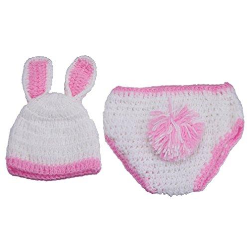 La vogue Stricken Häkeln Baby Bodys Mütze Beanie Babykleidung Windel-Abdeckung Newborn Kostüm Set Tiere für Fotografie Weiß Kanichen