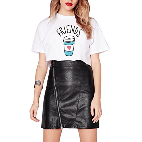 JBY Best Friends t Shirt für Zwei mit Aufdruck Shirt Burger Pommes und Dunut Cola Drucken Damen Sommer Oberteile Kurzarm Tops mit Cartoon Weiß und Schwarz Cola