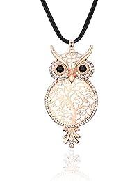 Long collier pour les femmes, pendentif chanceux chouette collier avec CZ  cristal noir collier de 1f403ac7b83b