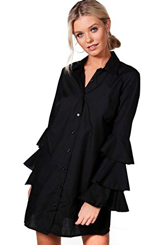Damen Schwarz Lauren Hemdkleid Mit Rüschenärmeln - 8 (Tuxedo Lauren)