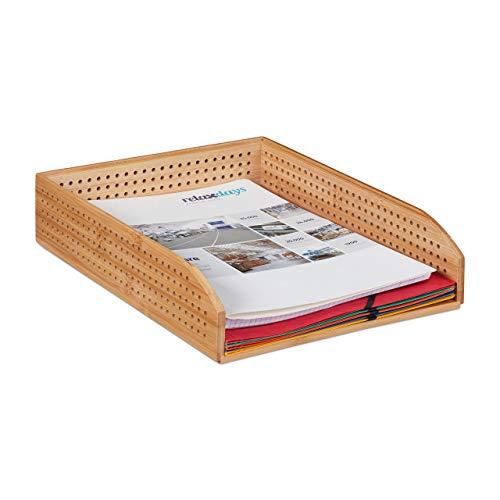 Relaxdays Dokumentenablage Bambus, perforiert, stapelbar, A4, Schreibtischablage, Büro, HBT: ca 7 x 25 x 33, natürlich (Holz Fach Schreibtisch)