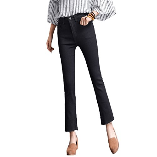 DaBag Pantaloni Donna Ragazzi Jeans Boot Cut in Primavera Autunno Denim Larghi Flare Pantalone Pants Con Frange Nero