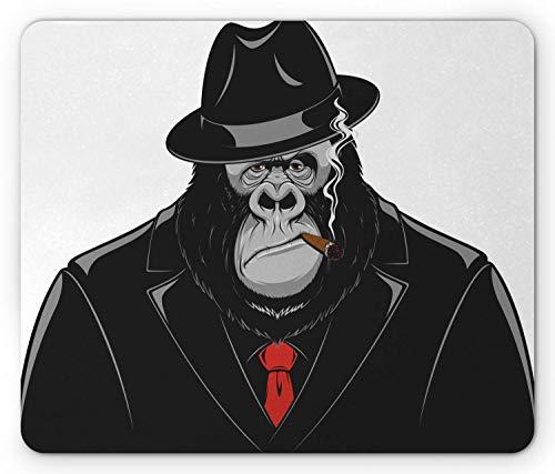 e Pad, Formidable Orangutan Mafia Gangster in a Black Suit Smoking a Cigar, Standard Size Rectangle Non-Slip Rubber Mousepad, Black Grey and Vermilion ()