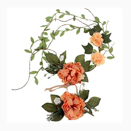 Quner Damen Stirnband, Blumendesign, mit Armbänder, schöne Pfingstrose, verstellbar