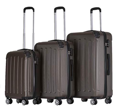 BEIBYE Zwillingsrollen Hardcase Reisekoffer Koffer Trolleys Hartschale in XL-L-M in 14 Farben (Coffee, Kofferset)