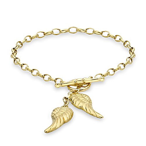 Carissima Gold 9ct Yellow Gold Angel Wings T-Bar Bracelet of 18cm/7""