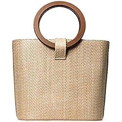 Yves25Tate Bolso de bambú de mano de mujer Bolso de bambú de gran tamaño Bolso de paja bolso de playa Rectangular Bamboo Bag retro