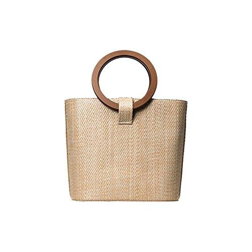 Bolsa de playa (ratán de hombro bolsa de almacenamiento verano Design en hierba de imitación retro bolso viaje vacaciones ideal regalo para mujer niña