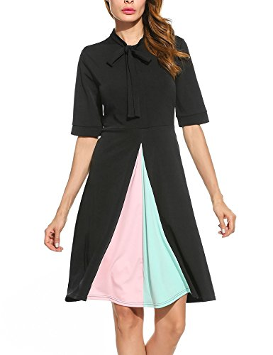 Meaneor Damen Kontrast Kleid A-Linie Kleid mit Schleife Patchwork Bodycon Bussiness Midi Elegant Kleid Faltenrock Schwarz