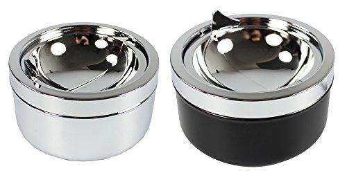 COM-FOUR® Cenicero cerrado 2x de metal para uso en interiores y exteriores...