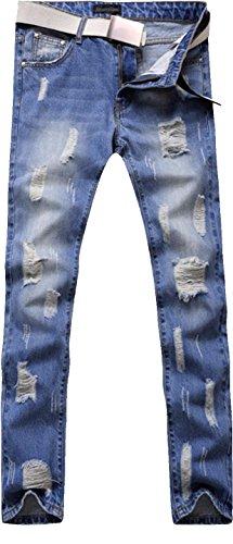 jeansian Herren Slim Washed Pattern LightBlue Long Straight Pants Jeans MJB066 LightBlue W33