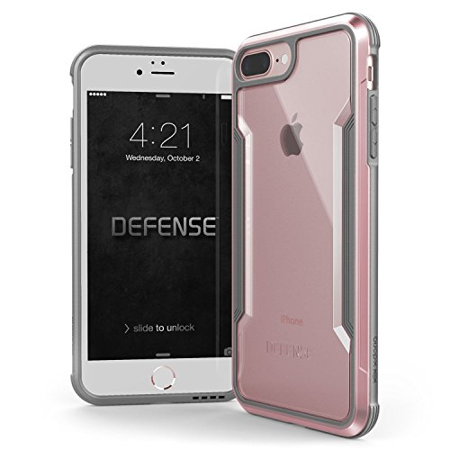 iPhone 7 Plus & iPhone 8 Plus hülle, X-Doria Defense Shield Serie, Military Grade Drop getestet, eloxiertes Aluminium, TPU, Polycarbonat Schutzhülle für Apple iPhone 7 Plus & iPhone 8 Plus - Rot Rose Gold