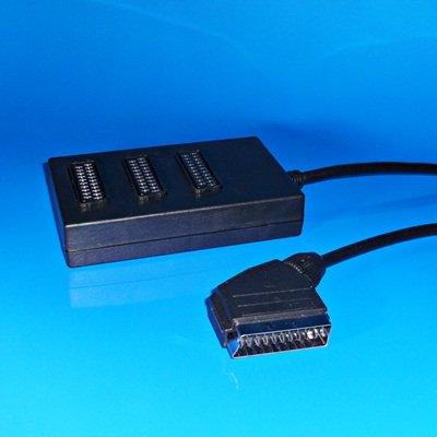 Audio Video Verteier / 1 Scart-Stecker männlich auf 3 Scart Buchse Kupplung weiblich / mit 40cm Kabel / Schwarz