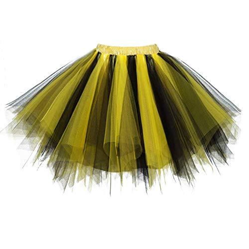 DresseverBrand Damen Petticoat 50er Rockabilly Jahre Retro Tutu Ballet Tüllrock Cosplay Crinoline Gold-Schwarz Small/Medium