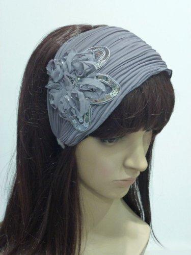 rougecaramel - accessoires cheveux - Serre tête/headband large plisse façon bandeau - gris