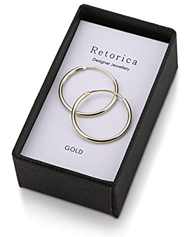 Retorica Gold Plated Hoop Earrings - 20mm Sleeper Earrings in