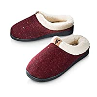Pupeez Girls Cozy Warm Sweater Knitted Slipper; A Luxury Style Kids House Shoe with Rubber Sole, Wine, 3-4 UK Big Kids