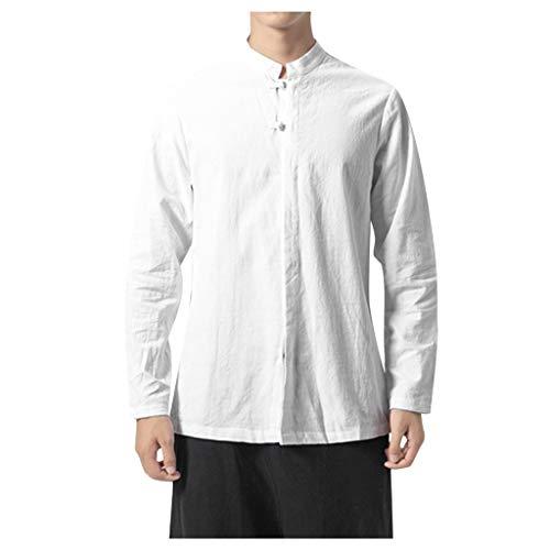 Xmiral Herren Hemd Chinesischer Stil Baumwolle und Leinen Langarm Stehkragen Shirt Slim Fit Einfach Herbst und Winter Unterwäsche(Weiß,5XL) -
