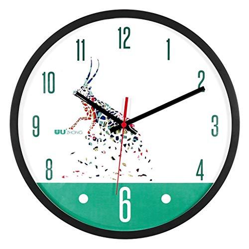 Everyday home Horloge murale silencieuse, couverture en verre de mouvement de balayage silencieux de 12 pouces, décorée pour salon, bureau, cuisine, chambre (Couleur : U, taille : 12 pouces)