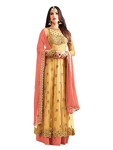FKART Women's Latest Designer, Party Wear, Traditional, Net Embroidered Yellow Color (Semi-Stitched_Free...