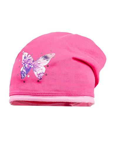 Maximo beanie, jersey, mit rollrand, bügelmotiv, cappellopello bimba, multicolore (sun pink/mandelblüte 25), 49