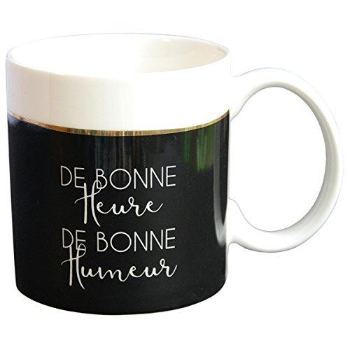Draeger - Mug Original - Tasse À Thé à offrir en cadeau à vos proches - Tasse À Café en porcelaine fine - 350 ml 8 cm de diamètre x 8,5 cm de hauteur de bonne heure de bonne humeu