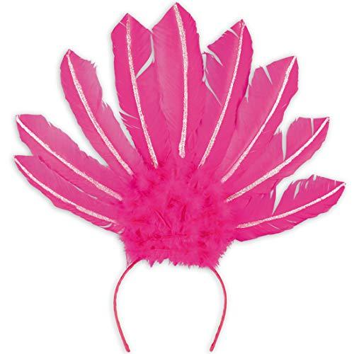 Amakando Eleganter Feder-Haarschmuck Samba-Tänzerin / Neonpink / Burlesque Haarband / EIN Blickfang zu Straßenkarneval & Mottoparty - Schmuck Brasilianischer