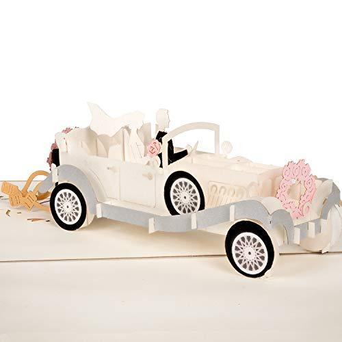 PaperCrush® Pop-Up Karte Hochzeitsauto mit Brautpaar [NEU!] - Lustige 3D Hochzeitskarte, Geschenkkarte als Glückwunsch zur Hochzeit - Handgemachte Hochzeit-Glückwunschkarte inkl. Umschlag