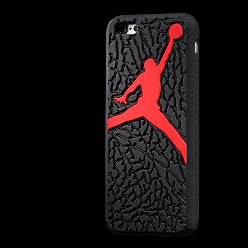 NEW Ronney de Air Jordan Semelle en silicone souple pour Apple iPhone 6/6S, Silicone, Noir/violet, STYLE 2 Noir/rouge