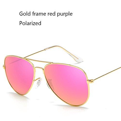 Aprigy Fashion Classic Avaitor polarisierte Sonnenbrille Frauen M?nner Driving Spiegel Pilot Sonnenbrillen Frauen M?nner Marken-Designer Unisex [Gold Rot Violett]