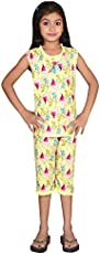 DREAMZ NIGHTWEAR- Comfort Nightwear- Pure Cotton, Breathable,Light Weight & Stretchable Top and Cotton Capri Set for Girls.