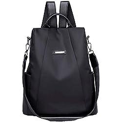 Mochilas Casual de Viaje de Tela Oxford de Personalidad de Moda Bolsa Antirrobo Paquete de Viaje y Ocio para Mujeres y Chicas Diario Messenger Bag Backpack (Negro)