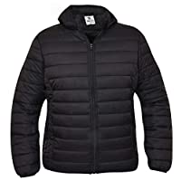 True Face Mens Quilted Jackets with Hood Collared Padded Coats Winter Puffer Outerwear Black Large