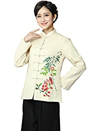 JTC Women Linen Floral Long Sleeve Autumn Cheongsam Slim Tang Suit Tops Outwear
