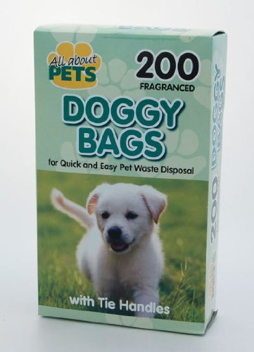200 BLACK DOGGY BAGS POO BAGS TIE HANDLES FRAGRANCED by ALLABOUTPETS