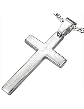 bkwear Halskette Leder HK 58 bk3 Kreuz Edelstahl Anhänger Silber mit Schrift Padre Nuestro 38 / 21 mm Lederkette...