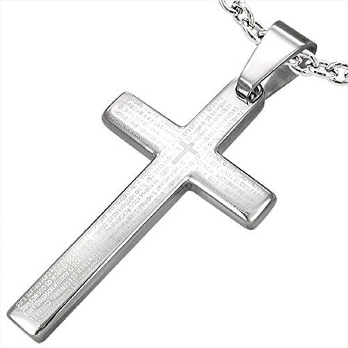 bkwear Halskette Kautschuk HK 58 bk3 Kreuz Edelstahl Anhänger Silber mit Schrift Padre Nuestro 38 / 21 mm Kautschuk-Kette 60 cm (Padre Hat)