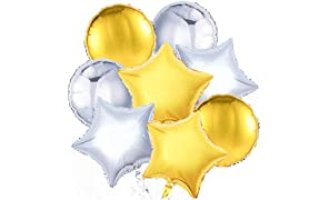 PuTwo Ballon Or Argent, 32pcs 18 Pouces Argent Ballon Baudruche Doré Ballons Aluminium pour Gender Reveal Party, Fete Anniversaire Or, Party Star, Etole Soiree Argent, Decoration Anniversaire Argent